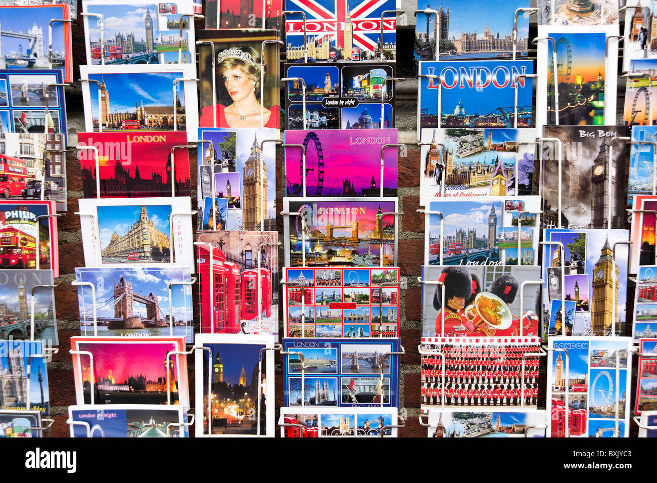 Picture postcards of famous tourist sites in London, England, UK - Stock Image