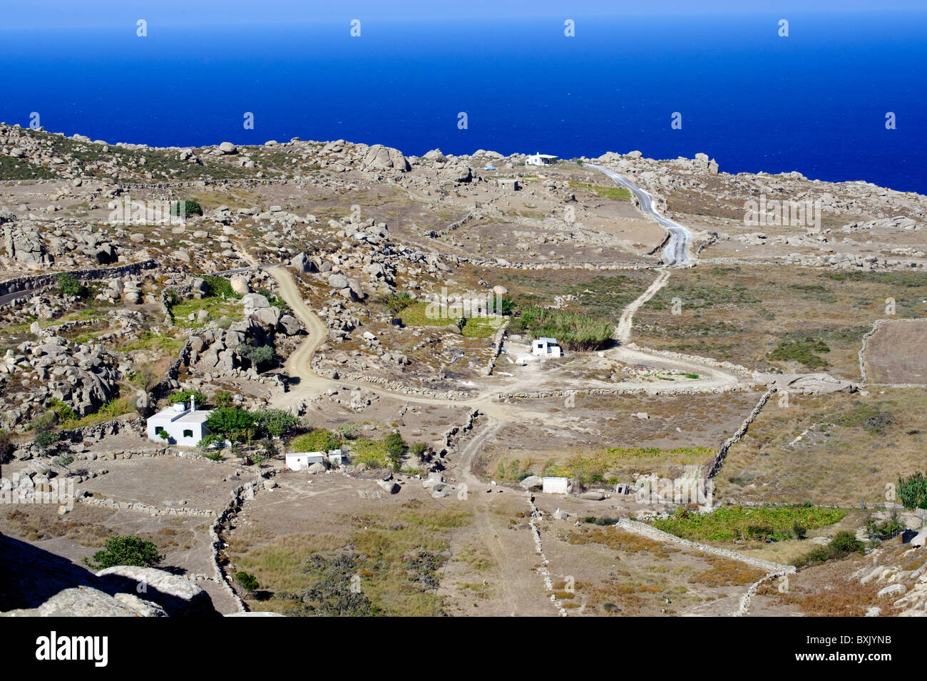 Arid farmland in the countryside near Volax, on the Greek Cyclade island of Tinos. - Stock Image