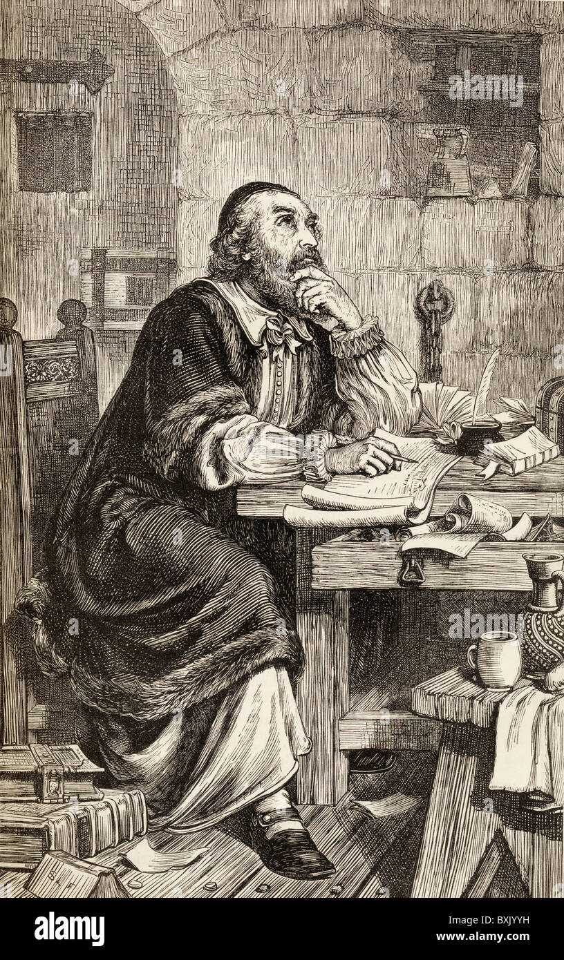 Nicholas Ridley writing letters in prison whilst awaiting execution. Nicholas Ridley c. 1500 to 1555. English Bishop - Stock Image