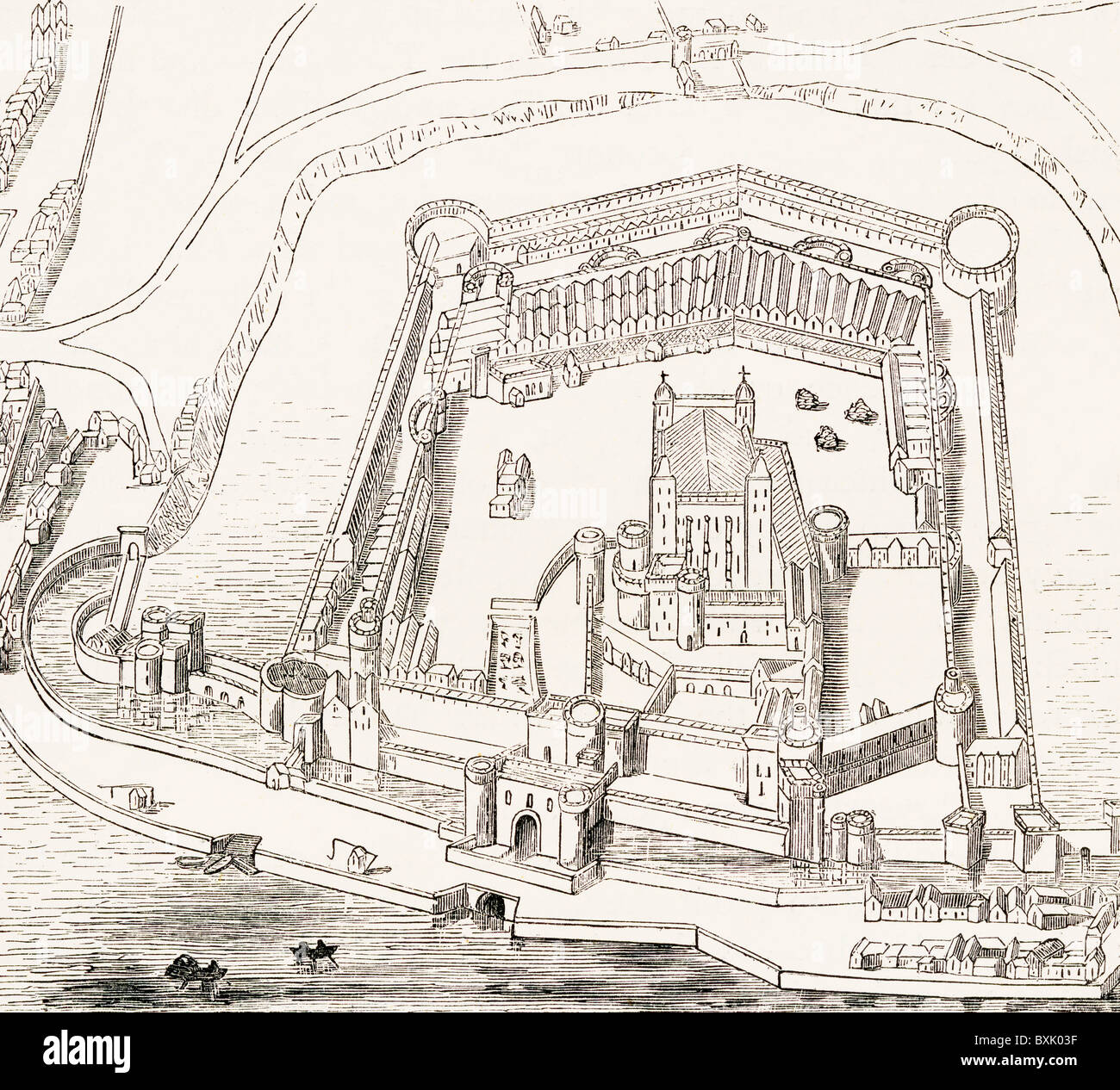 Birds-eye view of the Tower of London, England in the sixteenth century. - Stock Image