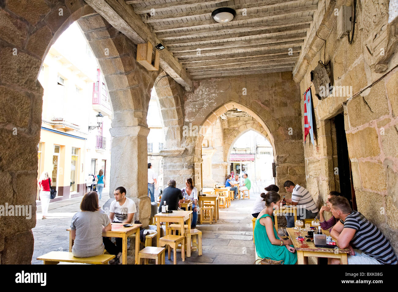 Bar in Noia, Galicia, Spain - Stock Image