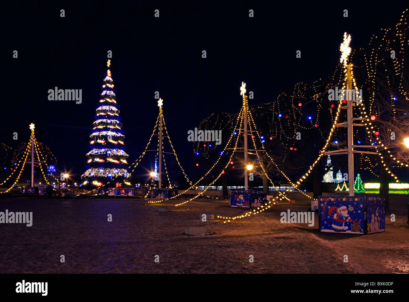 Night illumination for the New Year - Stock Image