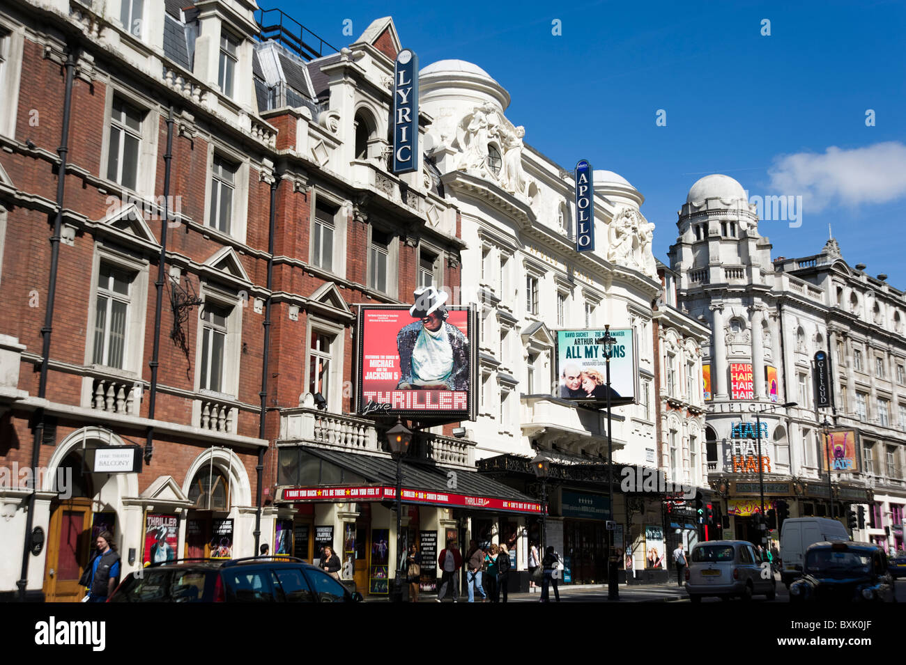 Theatreland on Shaftesbury Avenue, London, England, Britain, UK - Stock Image