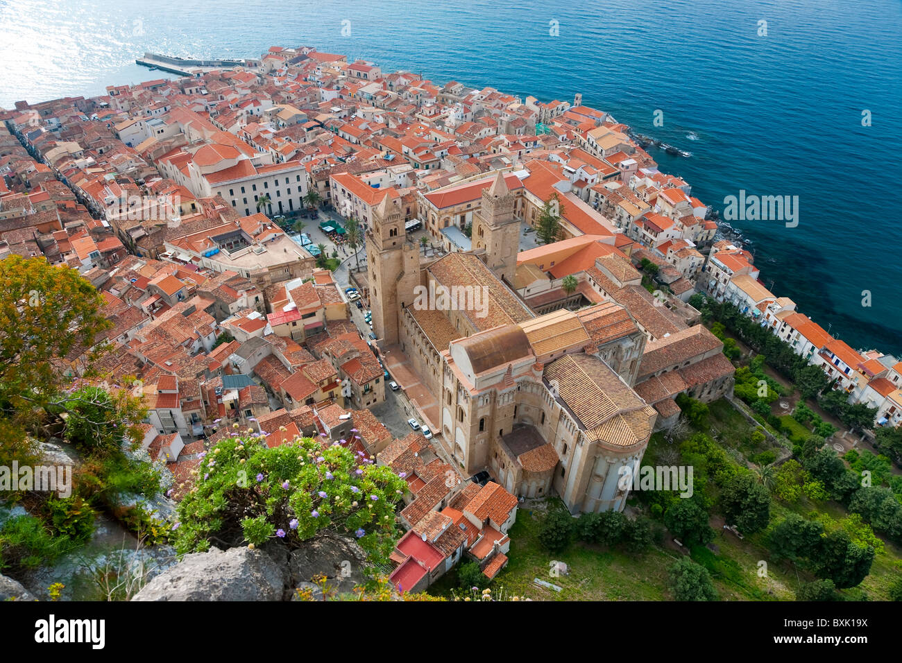 Cefalu from La Rocca North Coast Sicily Italy - Stock Image