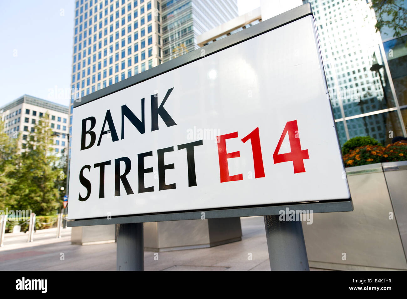 Bank Street in Canary Wharf, London, UK - Stock Image