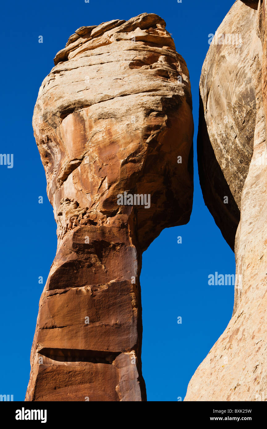 A freestanding sandstone pillar in Indian Creek Canyon, Utah, USA. - Stock Image