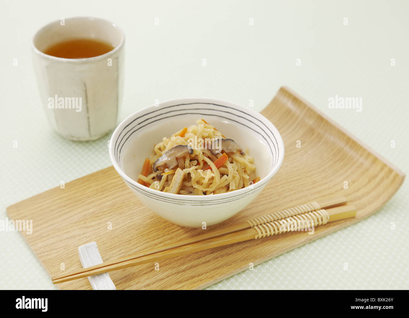 Shredded and dried daikon radish simmered in soy sauce - Stock Image