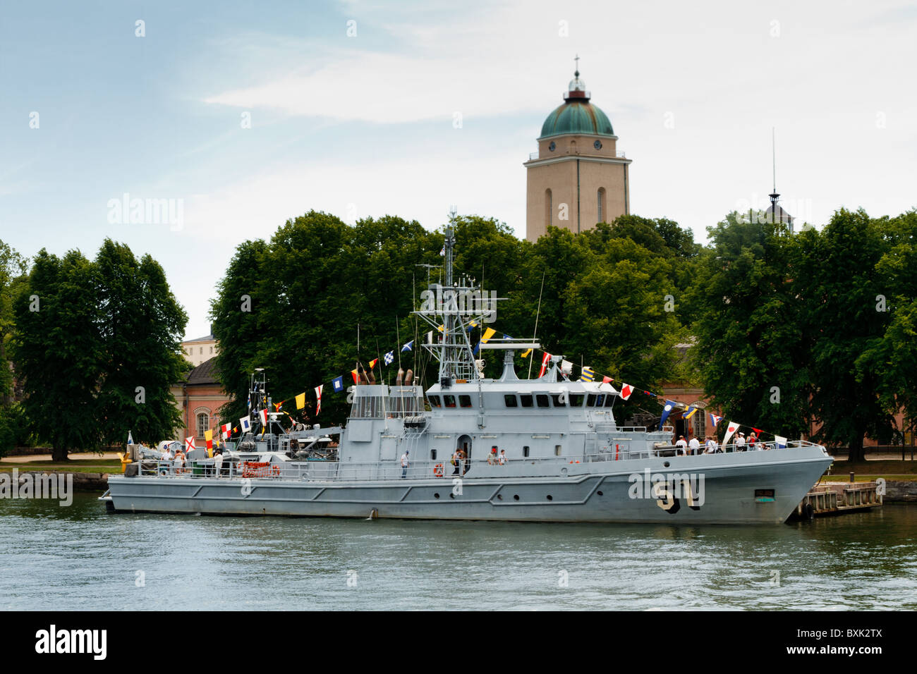 A patrol ship of the Finnish Navy, the FNS Kurki parading moored at the pier on Suomenlinna island off Helsinki - Stock Image