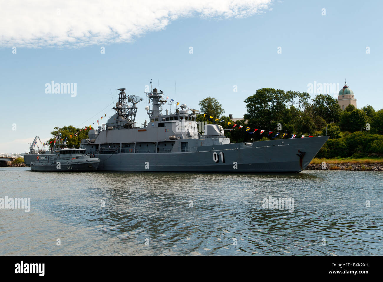 Former flagship of the Finnish Navy, minelayer FNS Pohjanmaa moored by the Naval Academy on Suomenlinna island off - Stock Image