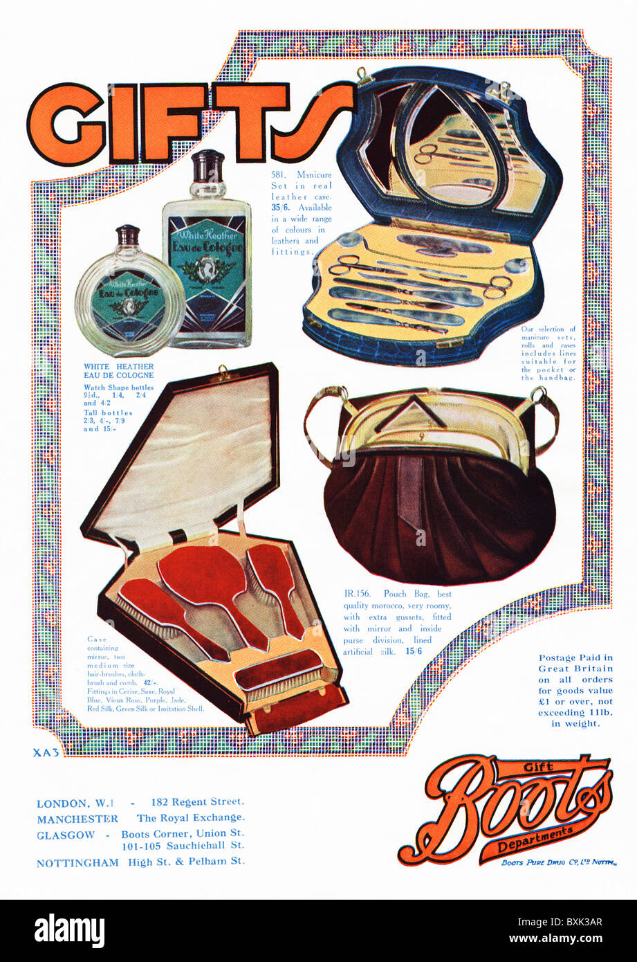 Full page colour advert for Boots gift department in women's magazine circa 1929 - Stock Image