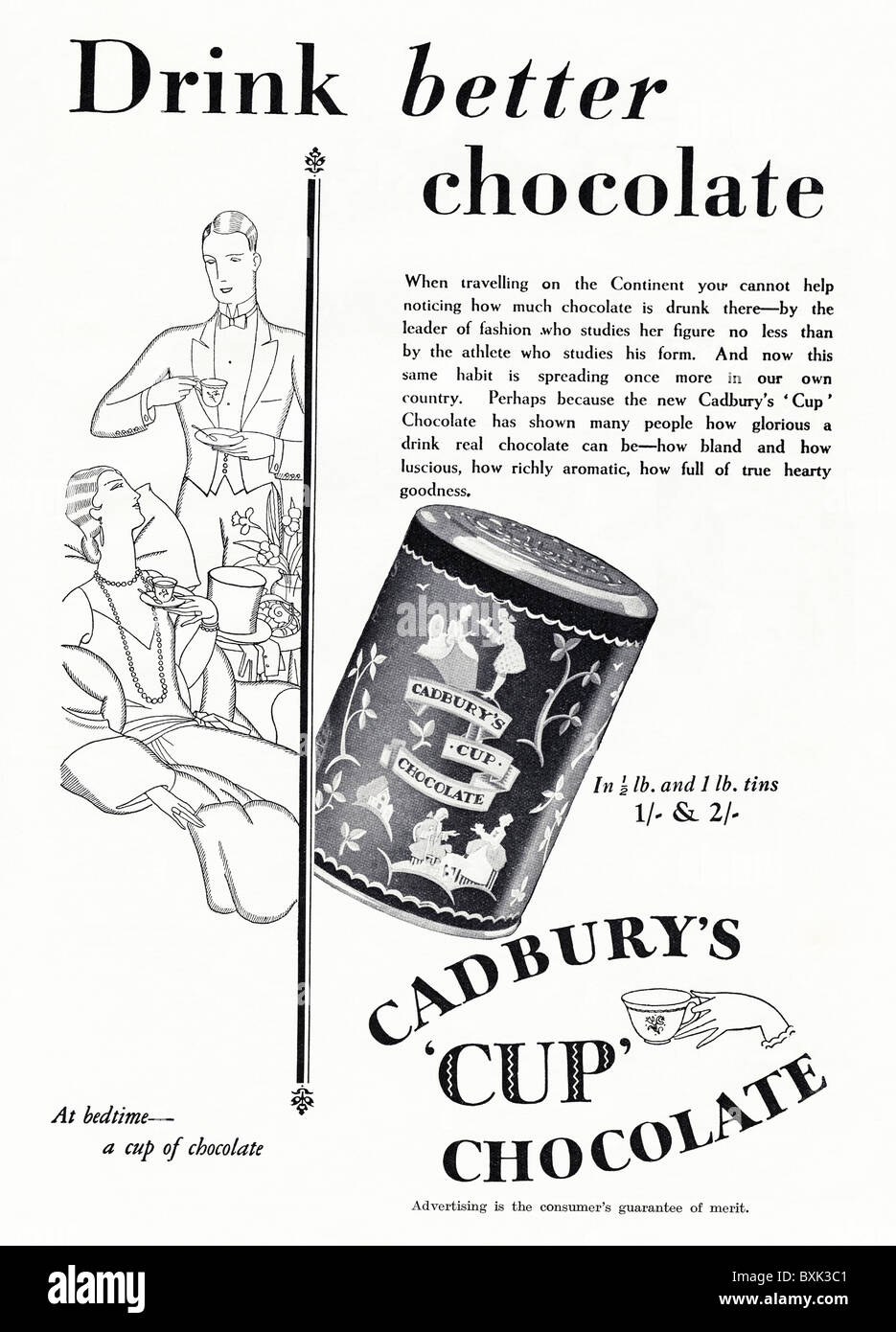 Full page black and white advert for Cadbury's chocolate drink in women's magazine circa 1929 - Stock Image