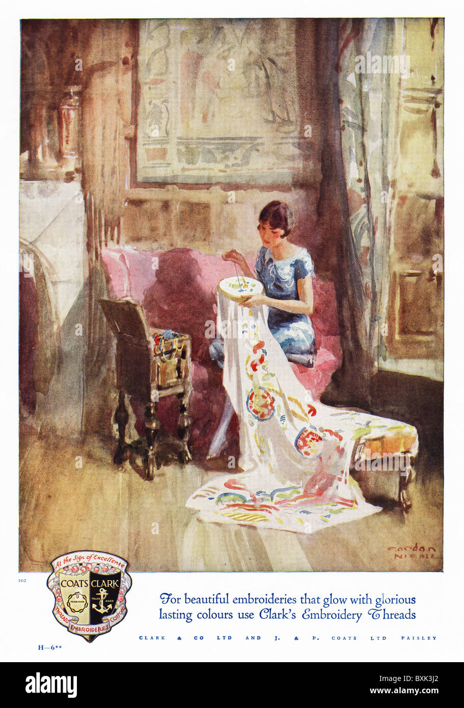 advertisement 1920s Full page colour advert for Coats and Clark's embroidery threads in women's magazine - Stock Image