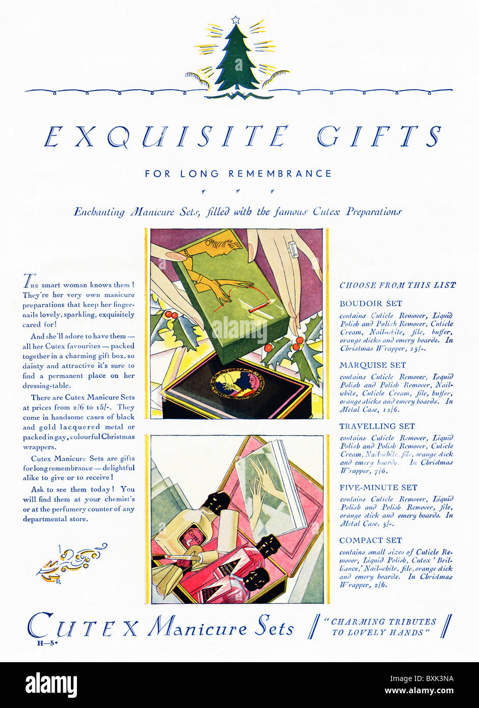 Full page advert for Cutex Manicure Sets in women's magazine circa 1929 - Stock Image