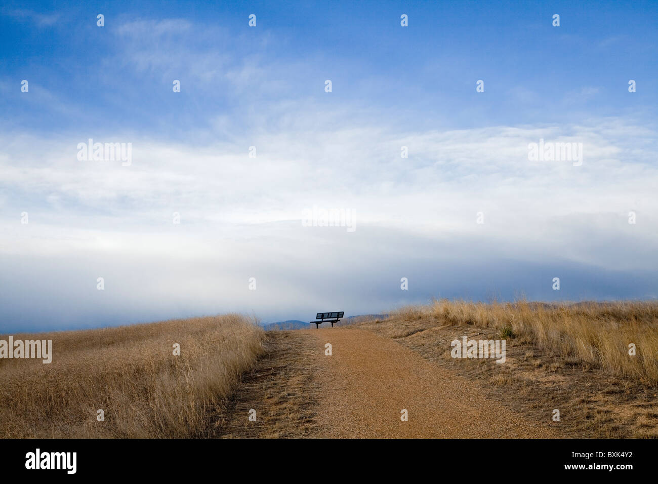 a bench sits at the top of the dirt trail, overlooking the Rocky Mountain foothills - Stock Image