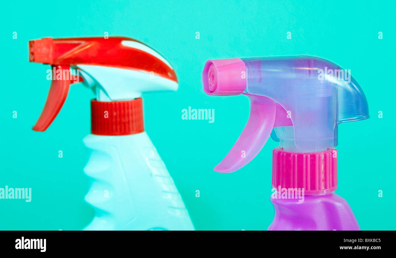 Generic spray bottles usually used for various cleaning products Stock Photo