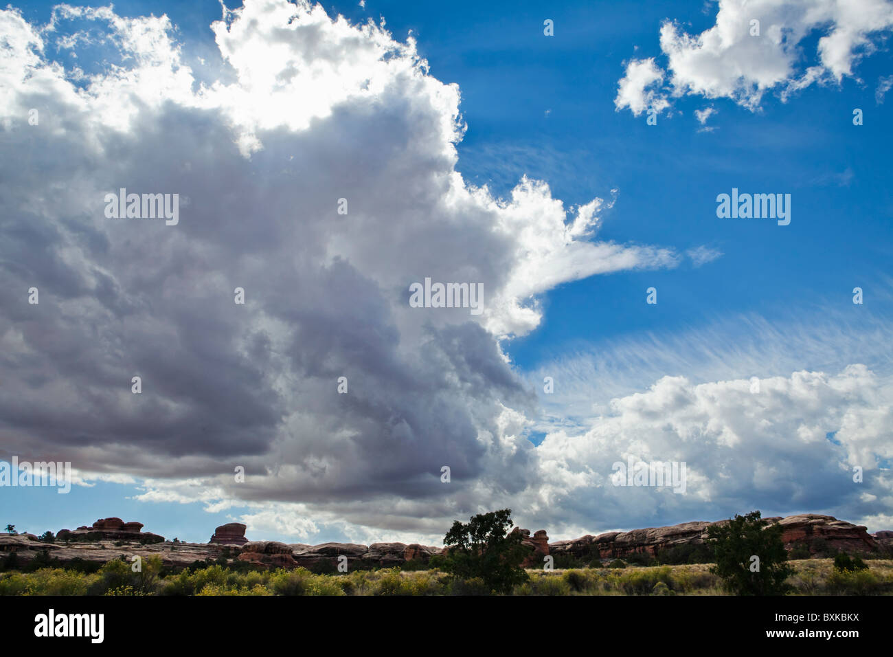 Large rain clouds gather overhead in Canyonlands national Park, Utah, USA. - Stock Image