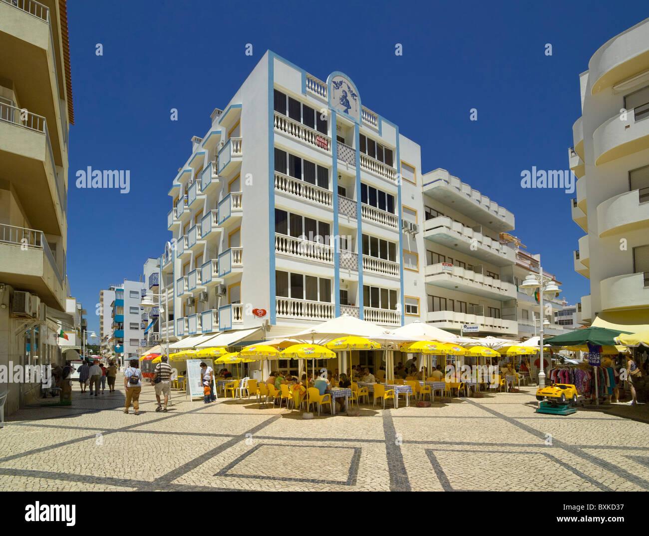 Montegordo; Outdoor Restaurant In The Town Centre, the Algarve, Portugal - Stock Image