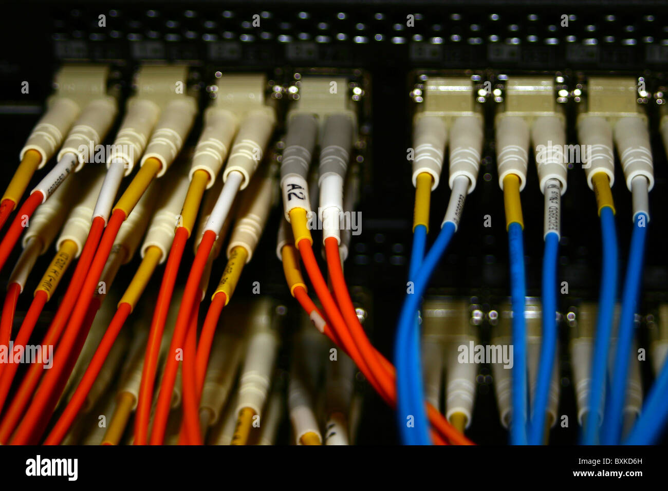 Fibre optic connections on an Internet fibre router Stock Photo