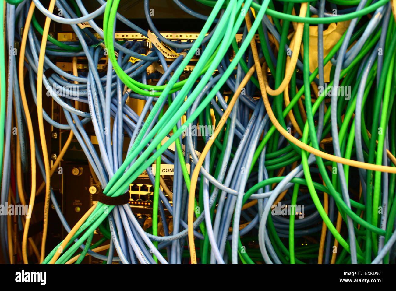 ethernet cables connected to a switch wiring harness stock photo rh alamy com
