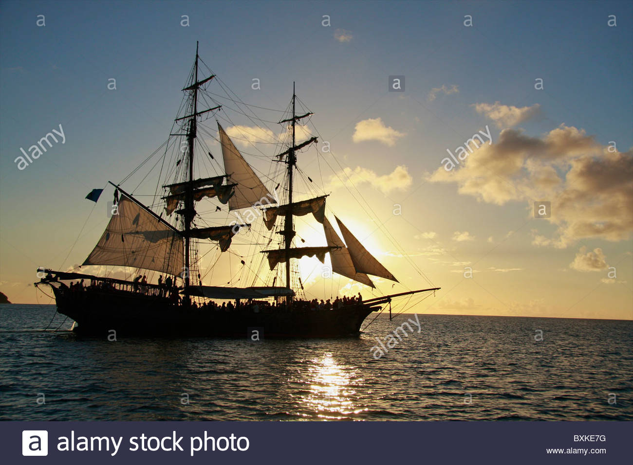 Sunset Cruise On The Brig Unicorn , 18th Century-style Ship Featured In Pirates Of The Caribbean - Stock Image