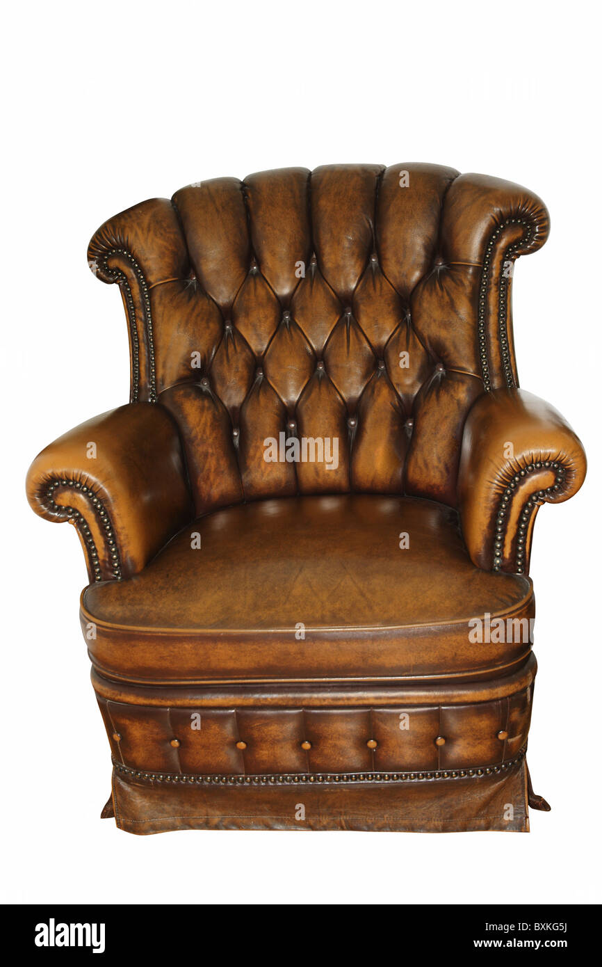 Superbe Old Leather Armchair Isolated On White Background