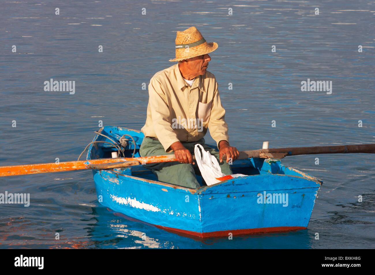 La Graciosa Island, Fisherman In Rowing Boat - Stock Image