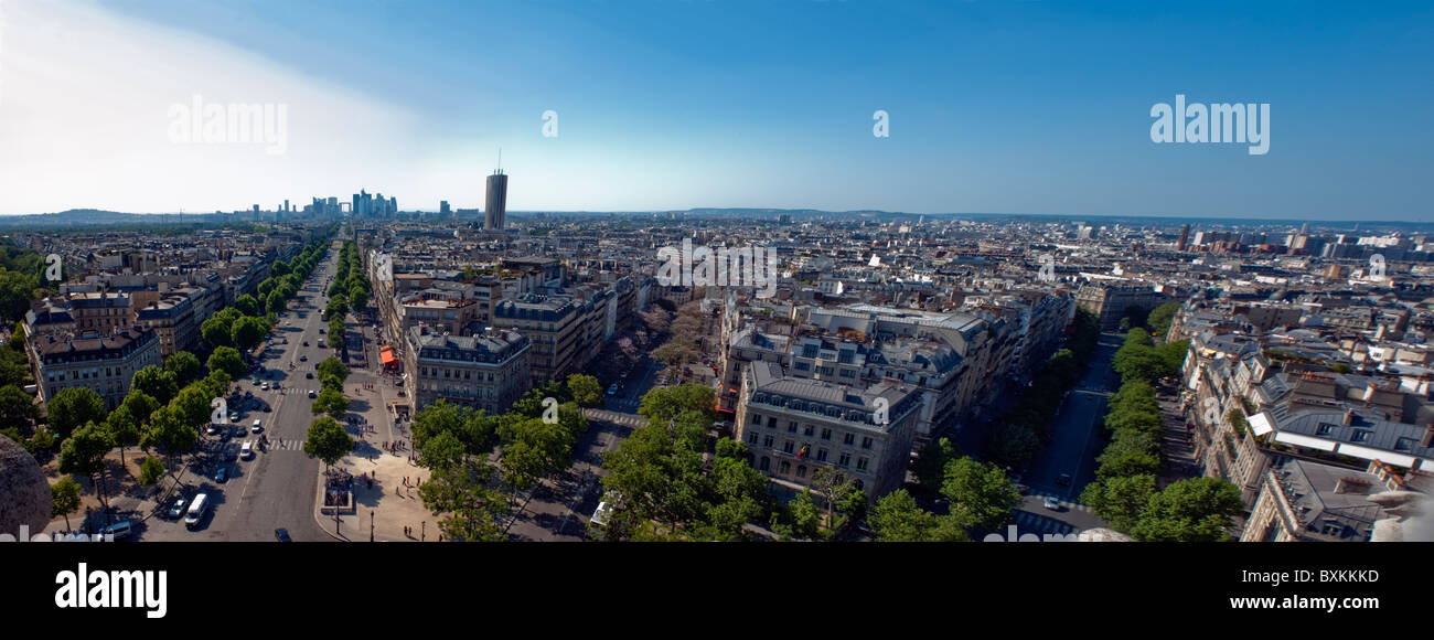 Paris, France, Panoramic Cityscape, Overview Skyline (from Arc de Tri-omphe) - Stock Image