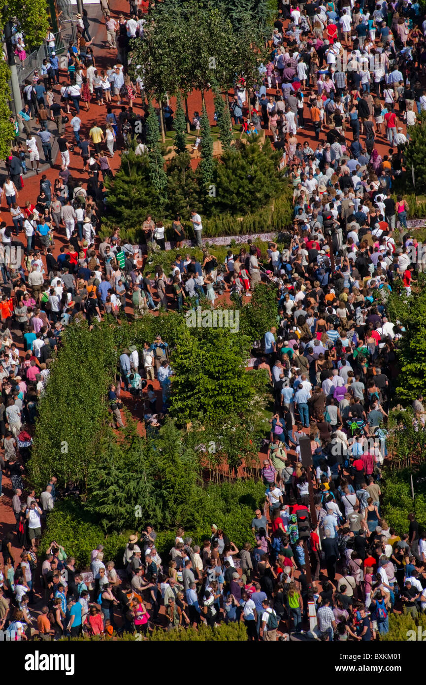 Paris, France, Champs-Ely-sees Garden Event, Farmer's Event; Overview Aerial Crowd Scene - Stock Image