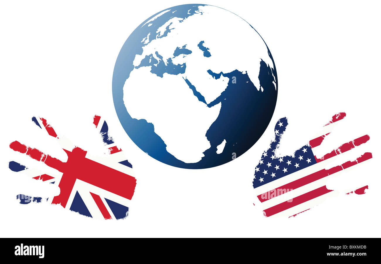 Earth globe with stylized flags of US and UK - Stock Image