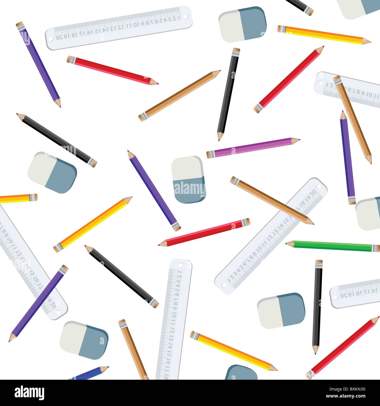 pencils and measuring lines - Stock Image