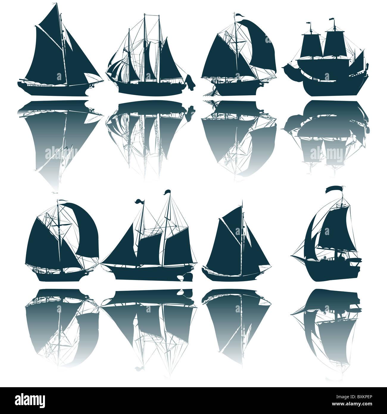 Sailing ship silhouettes - Stock Image