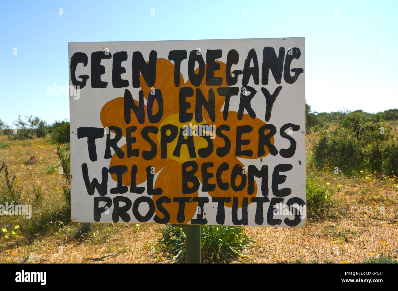 Humourous No Trespassing Sign Skilpad Namaqualand Northern Cape South Africa - Stock Image