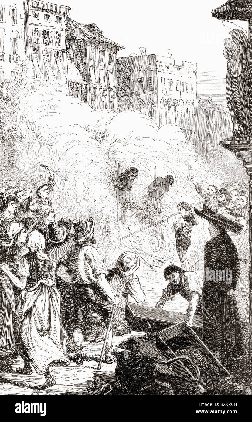 The massacre of Protestants at Barletta, Italy in 1866. - Stock Image