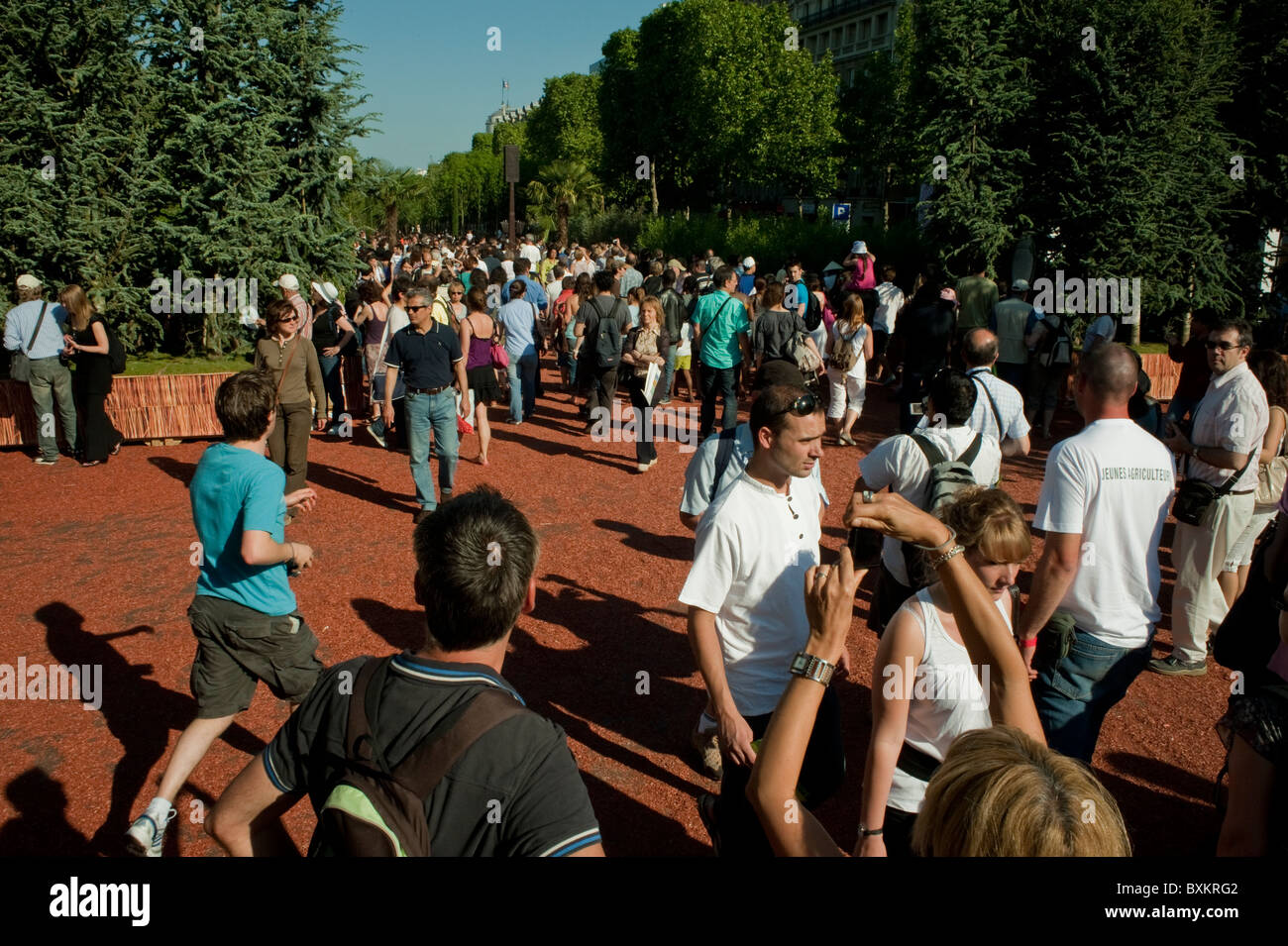 Crowd of Adults Visiting Paris, France, Garden Festival, Champs-Ely-sees Farmer's Event - Stock Image