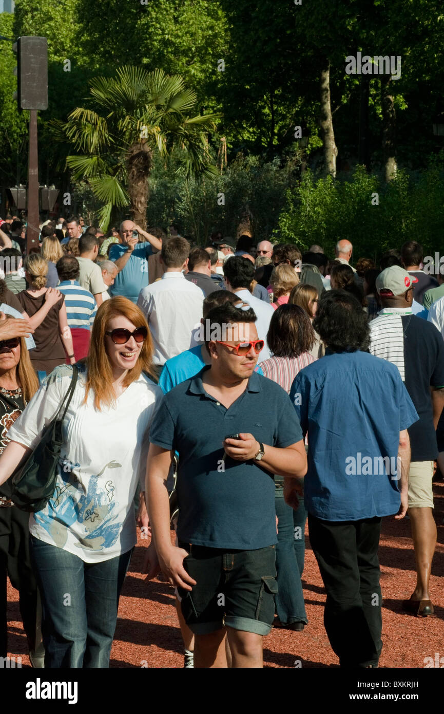 Crowd of Tourists, Visiting Paris, France, Garden Festival, Avenue Champs Elysees, Farmer's Event, Couple in - Stock Image