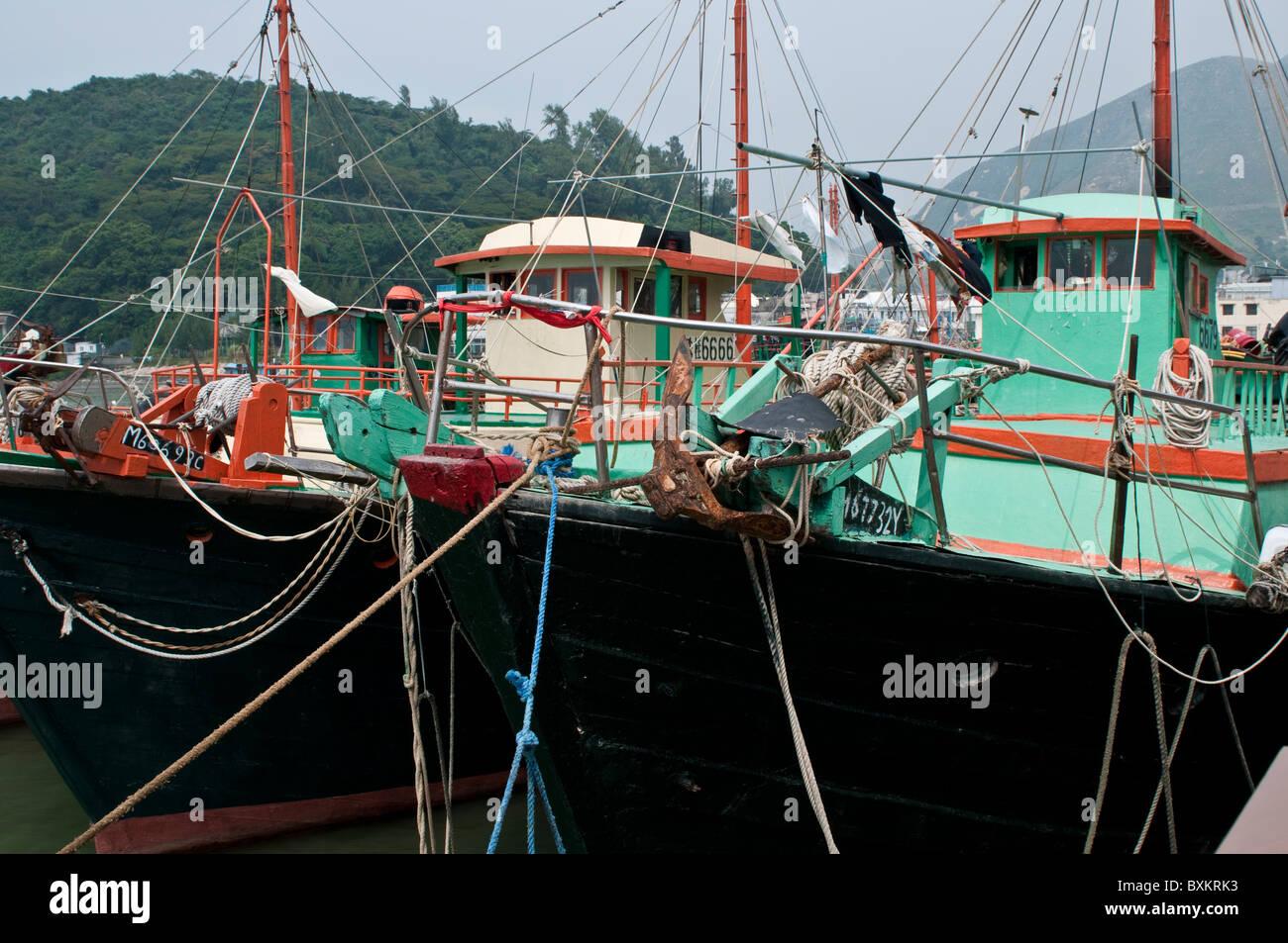 Fishing boats, Tai O village, Lantau island, Hong Kong, China - Stock Image