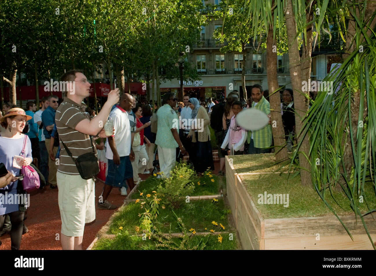 Adults Visiting Paris, France, Garden Festival, Champs-Ely-sees Farmer's Event - Stock Image