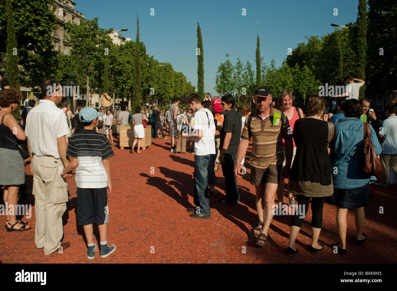 Adults Visiting Paris, France, Garden Festival, Champs-Ely-sees Farmer's Event Stock Photo