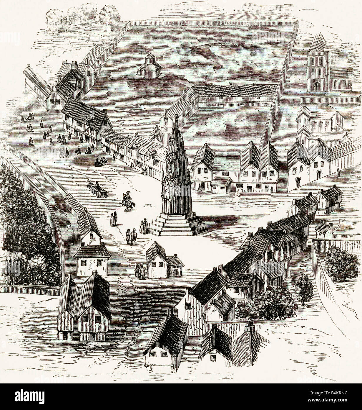 Charing Cross, London, England in the sixteenth century. - Stock Image