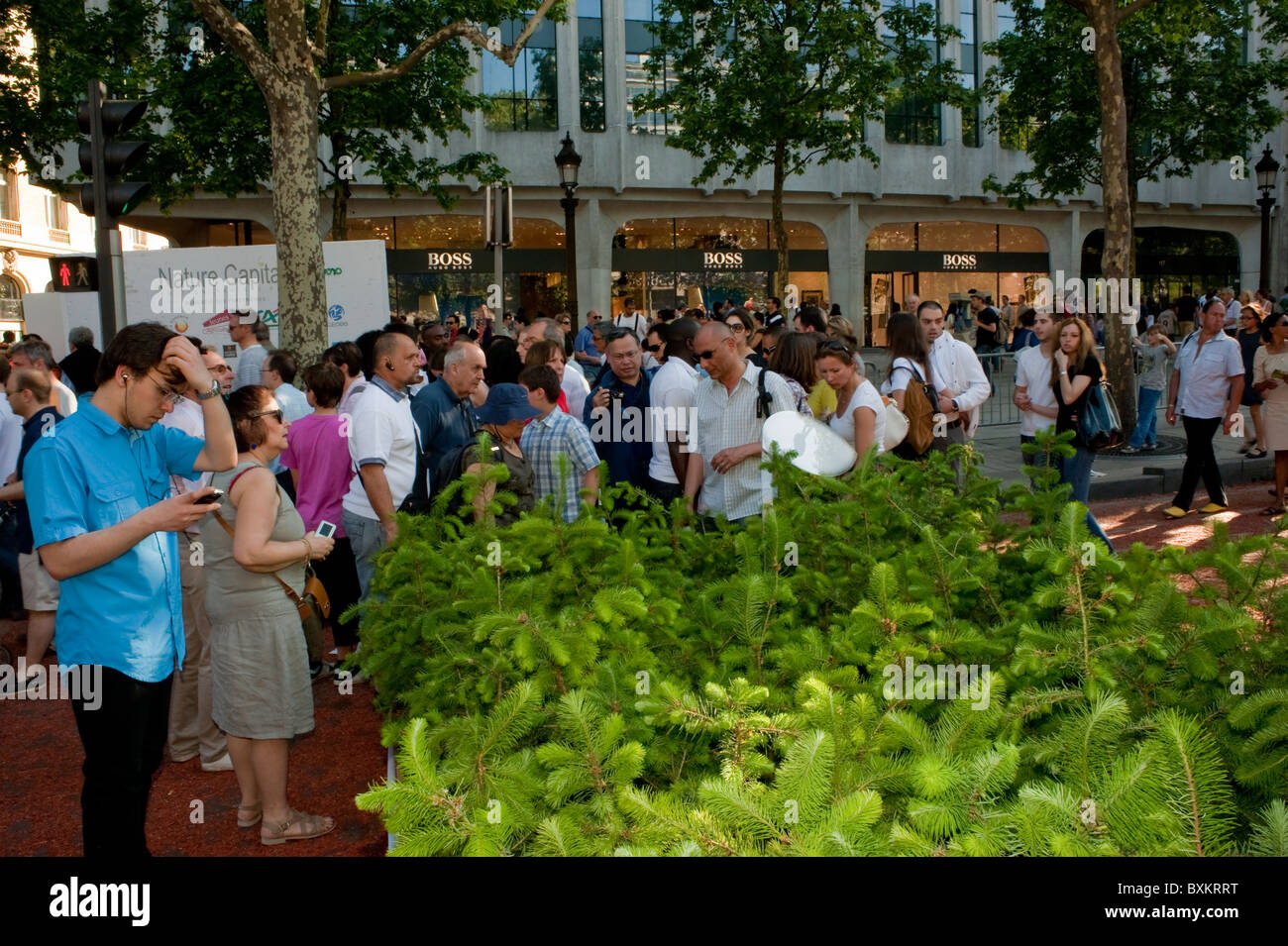 Crowd of Tourists, Visiting Paris, France, Garden Festival, Champs-Ely-sees Farmer's Event, Promenading on Street - Stock Image