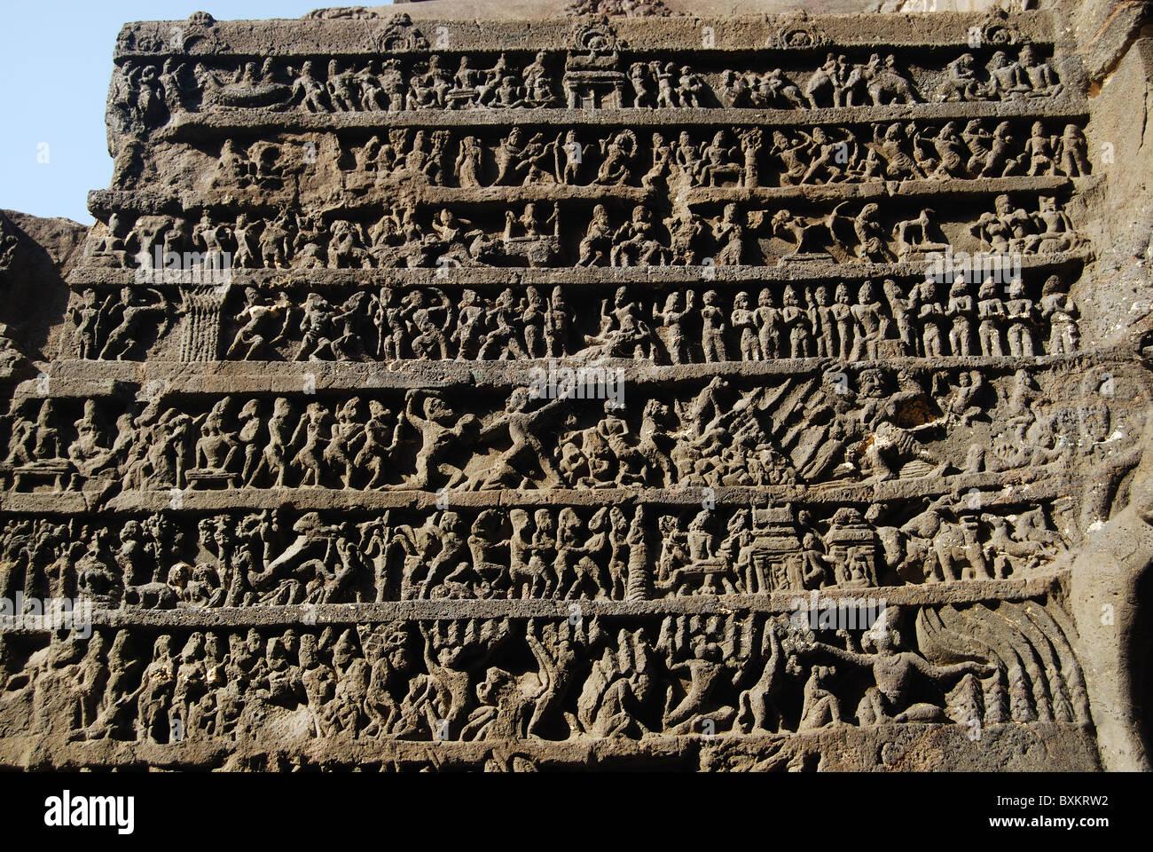 Cave 16. Kailasa temple. North wall of Rang Mahal. Mahabharata panel. Ellora Caves, Aurangabad, Maharashtra, India. - Stock Image