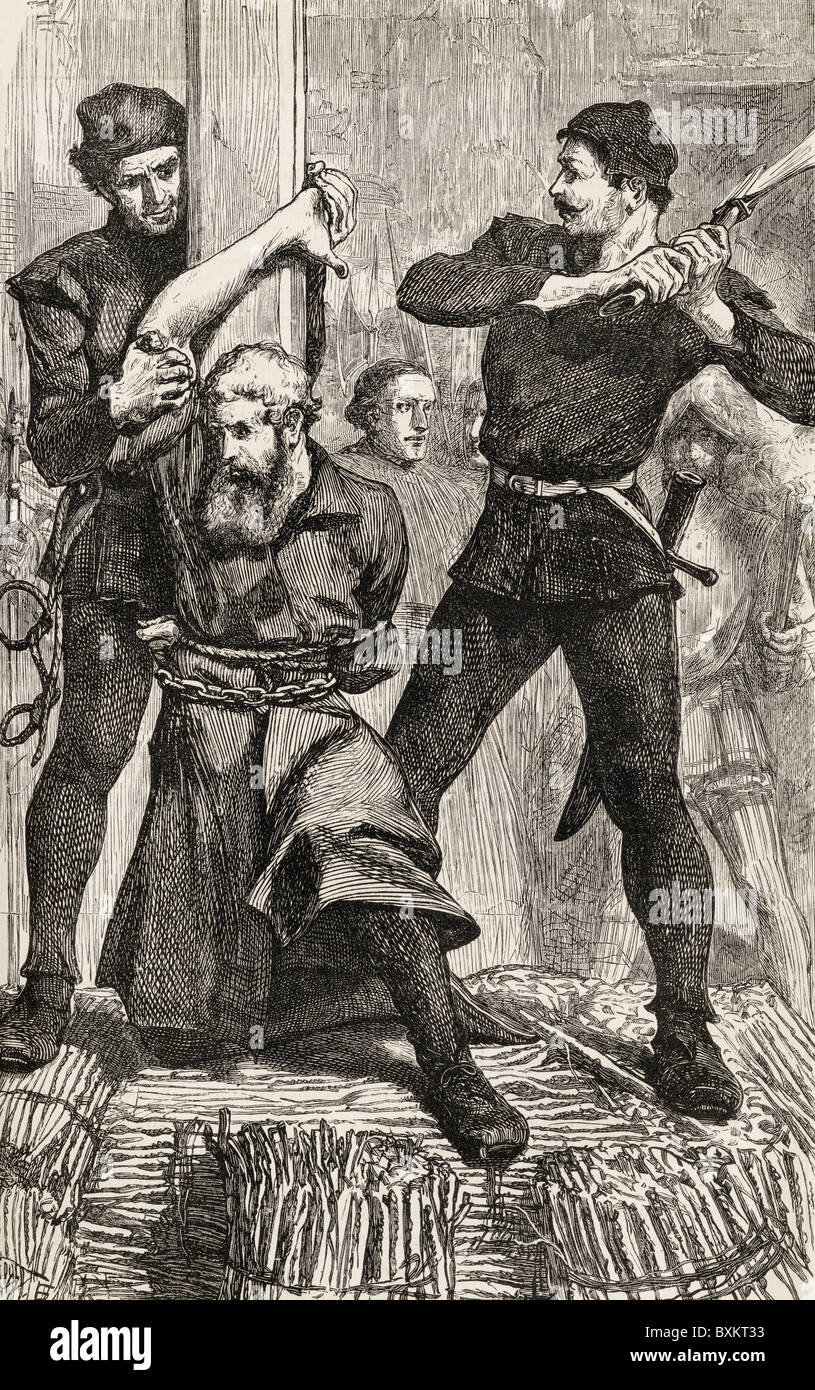 William Flower of Snowhill, Cambridgeshire, English Protestant martyr, having his right hand cut off before being - Stock Image