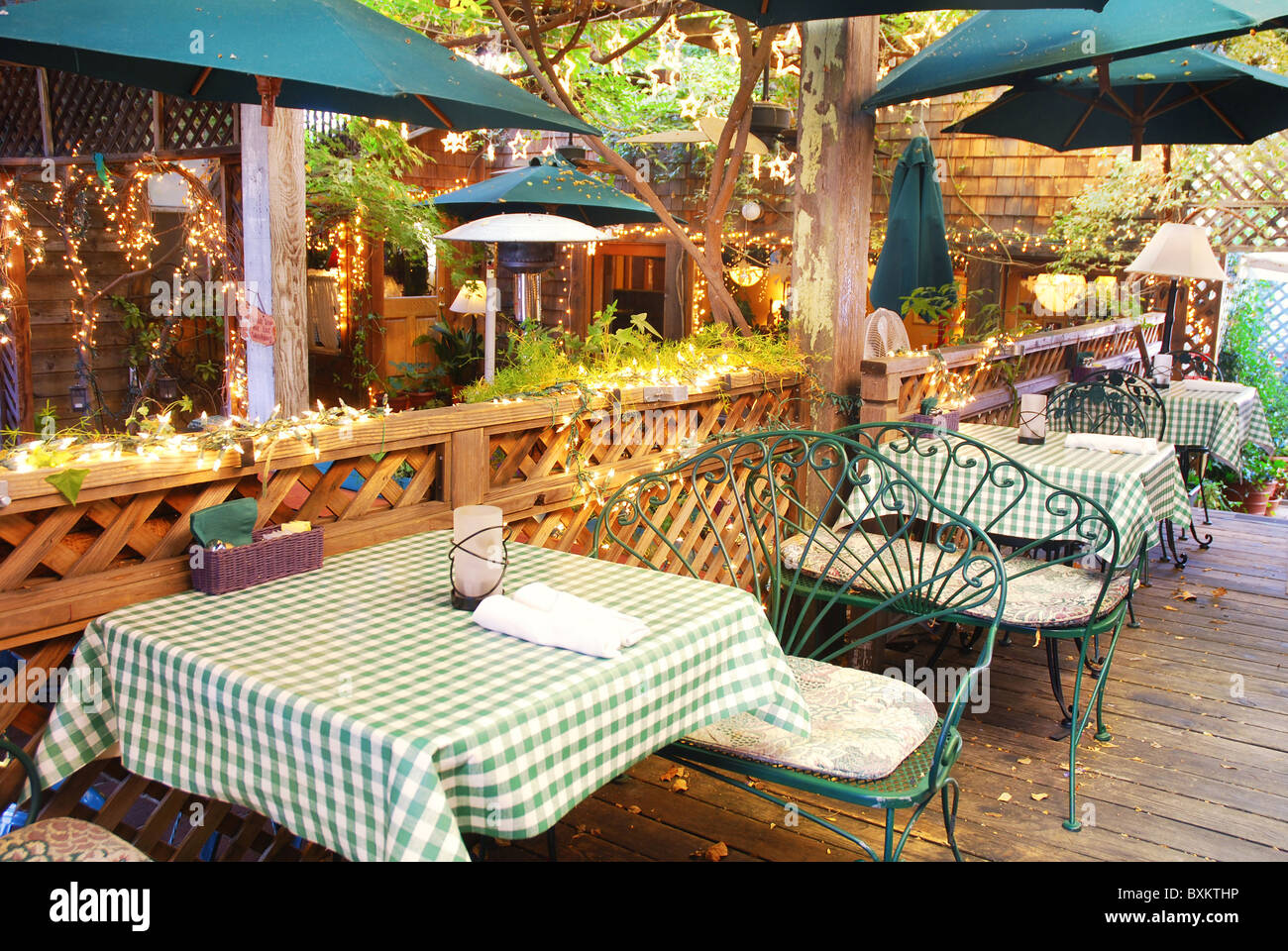 Interior of an outdoor restaurant Stock Photo