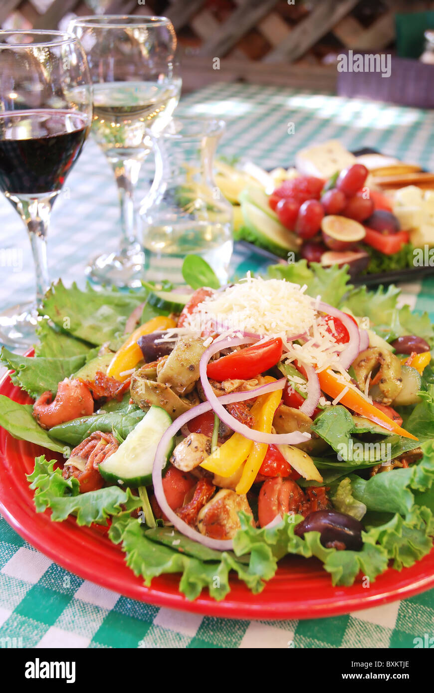 Plate of tortellini and vegetable salad at restaurant Stock Photo