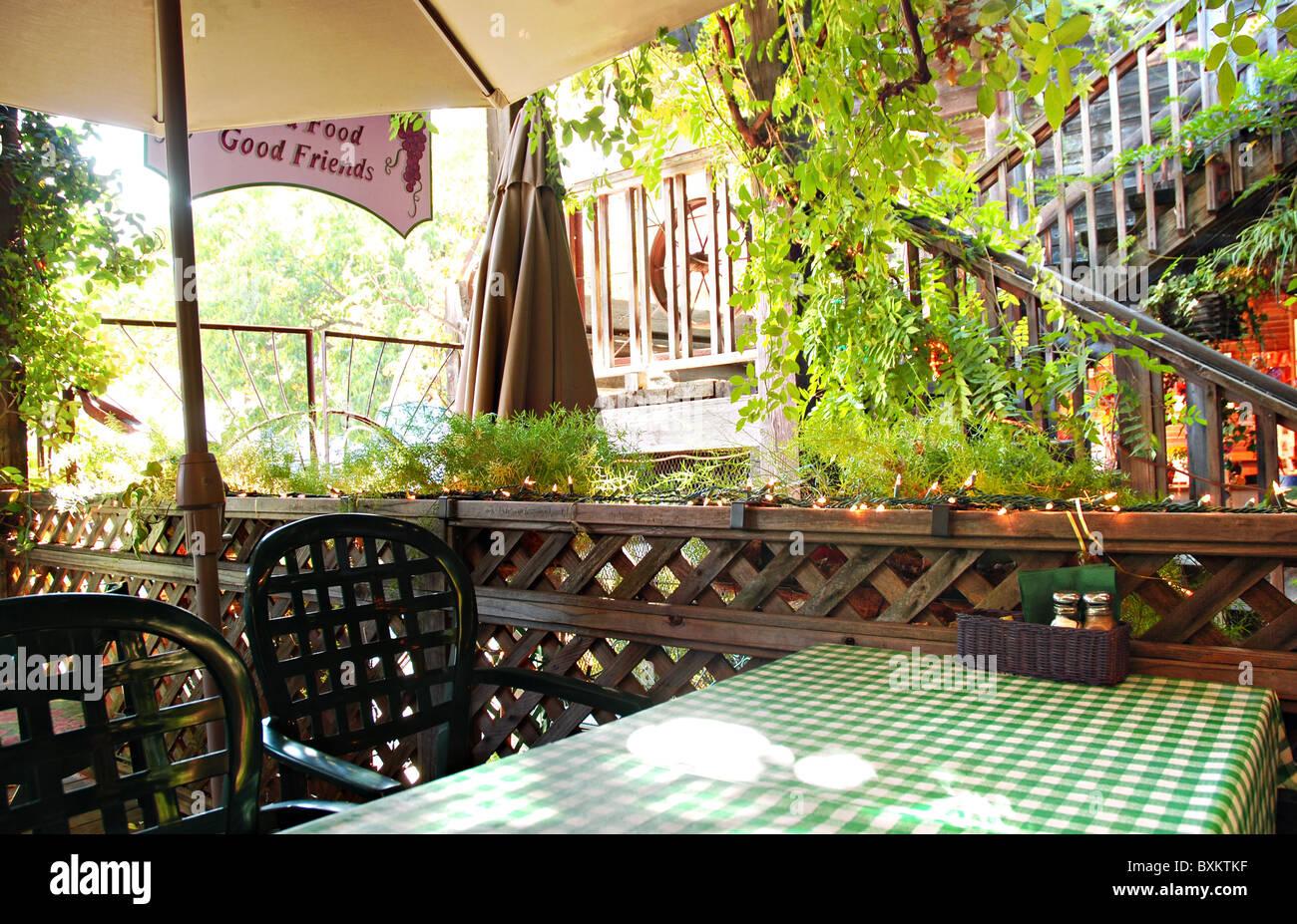 Interior area of an outdoor restaurant in Sutter Creek, California Stock Photo