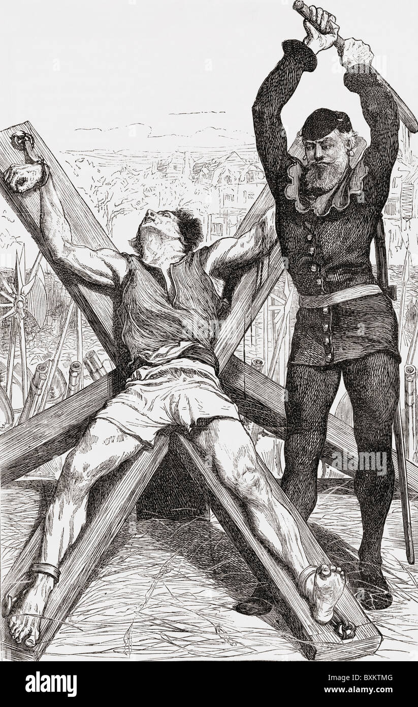 Prisoner tortured on the St. Andrews Cross. Executioner breaks his limbs with an iron bar before transferring him - Stock Image