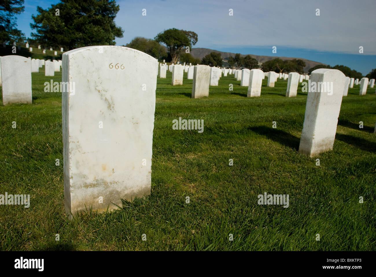 666 headstone at San Francisco National Cemetery in San Bruno, California Stock Photo