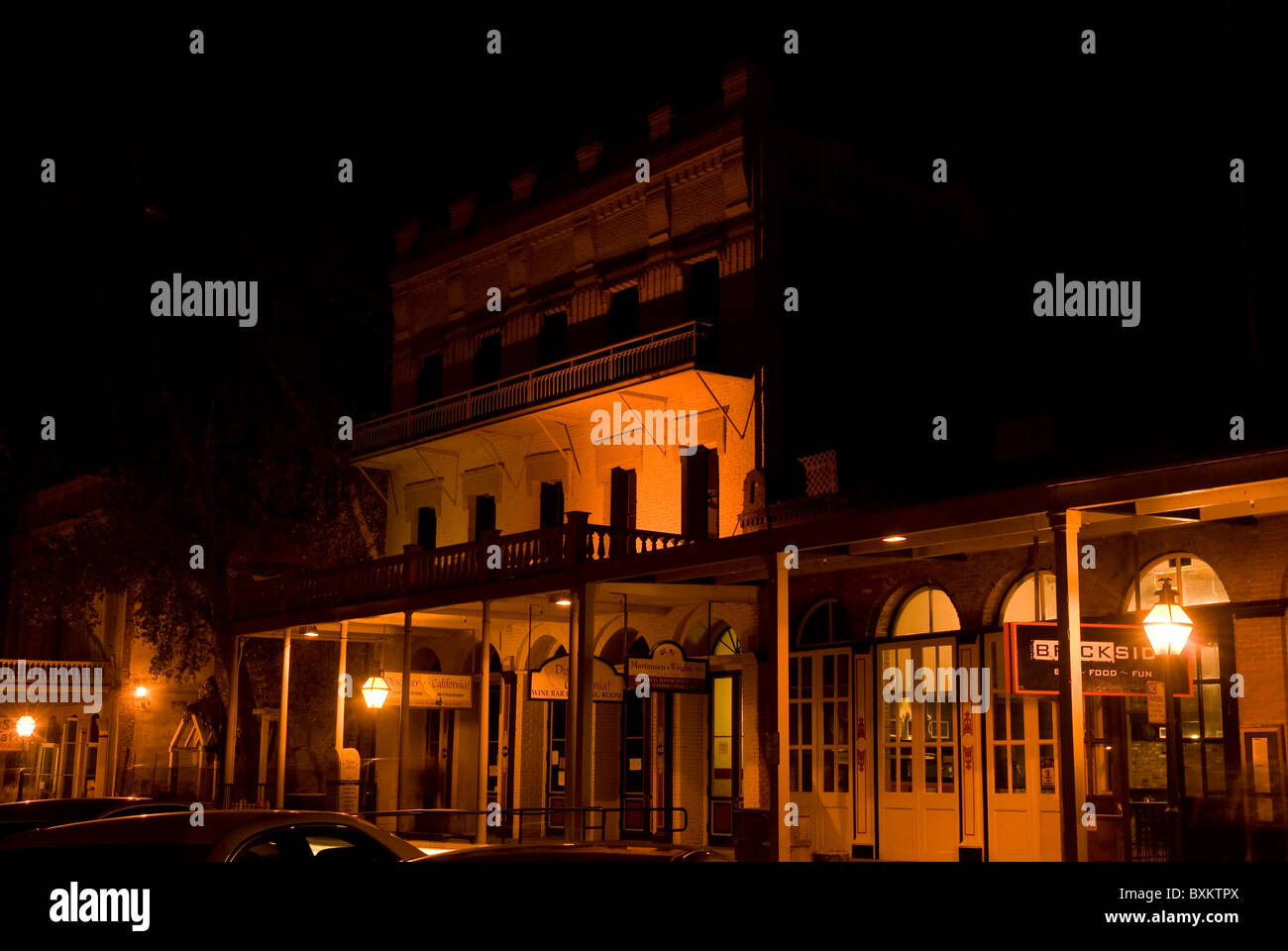 Street view of Old Sacramento at night Stock Photo