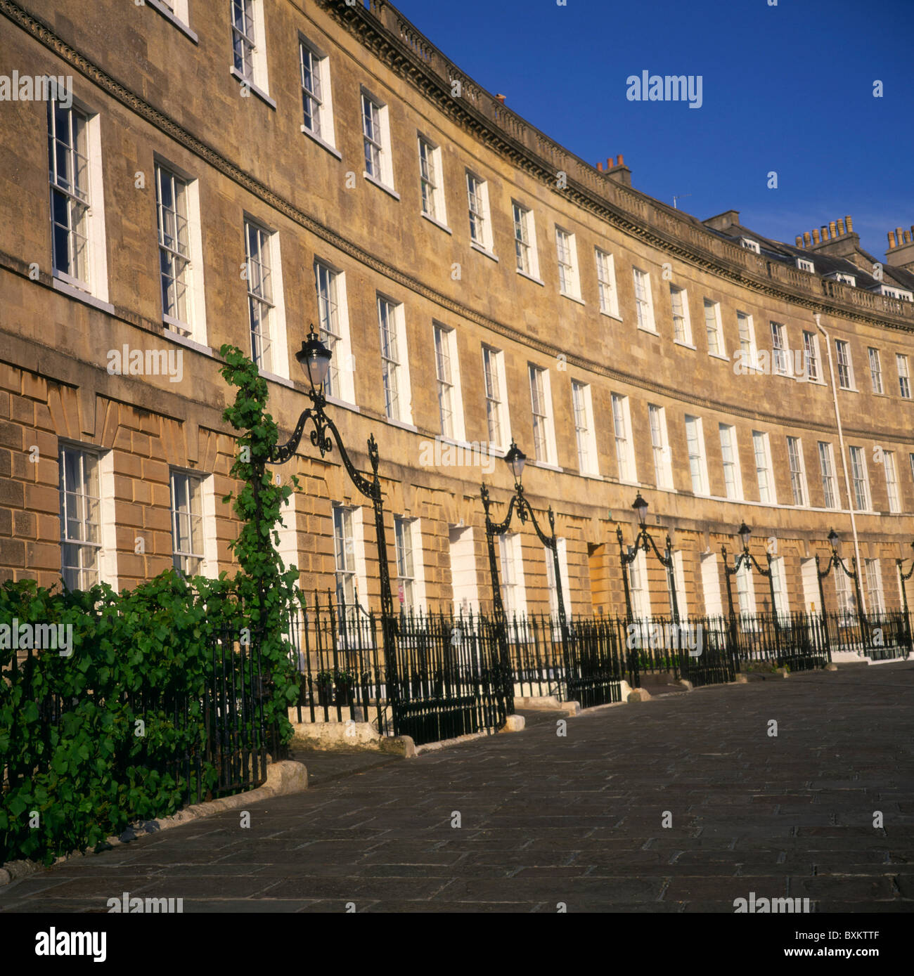 Lansdown crescent Georgian buildings Bath England - Stock Image