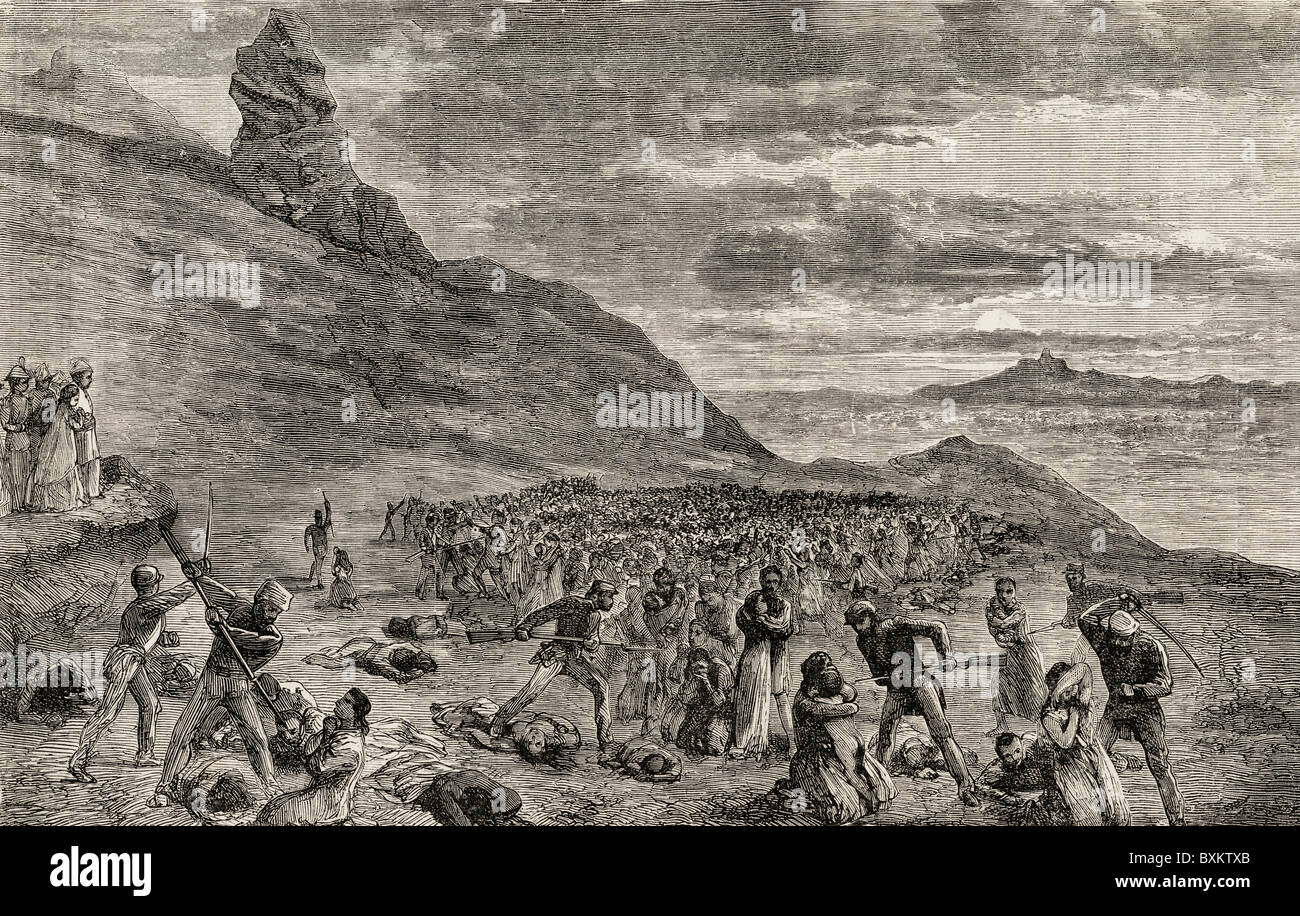 The persecution and massacre of the Christians on the island of Madagascar in 1849. - Stock Image